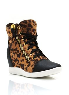 zipper accent leopard wedge sneakers Ropa Deportiva 2ba7c4c5caa