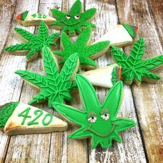 420 - weed - pot leaf - marijuana - stoner -  1 Dozen - cute decorated sugar…