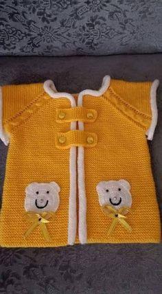 Sarı beyaz ayıcıklı örgü çocuk yelek Baby Knitting Patterns, Elsa, Diy And Crafts, Karma, Sweaters, Fashion, Vest Coat, Little Girl Clothing, Amigurumi