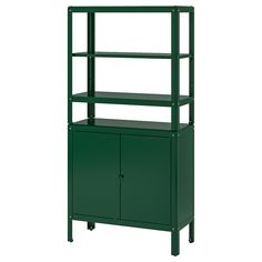 IKEA - KOLBJÖRN, Shelving unit with cabinet, green, Suitable for both indoor and outdoor use. Stands evenly on an uneven floor since the feet can be adjusted. Suitable for indoor and outdoor use. Outdoor Storage Boxes, Outside Storage, Bench With Storage, Storage Benches, Adjustable Shelving, Open Shelving, Shelving Units, Ikea Regal, Recycling Facility