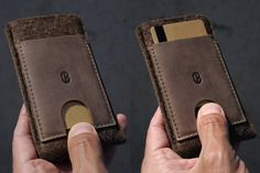 This sleeve fits both iPhone 6 and the new iPhone 6s /// Sleeve wallet with two leather pockets designed to securely carry your iPhone and cards. One