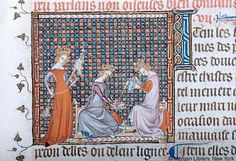 Three queens spinning, weaving, and embroidering, Avis aus Roys (PML M.456, fol. 56r), c. 1340-1360