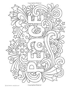 Notebook Doodles Peace, Love, and Music: Color & Activity Book (Design Originals) 32 Groovy Designs; Beginner-Friendly Relaxing & Inspiring Art Activities for Tweens, on Extra-Thick Perforated Pages Love Coloring Pages, Printable Adult Coloring Pages, Adult Coloring Book Pages, Free Coloring, Coloring Books, Pintura Hippie, Dibujos Zentangle Art, Coloring Pages Inspirational, Color Activities