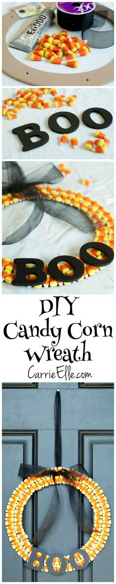 Cute, easy and cheap - this DIY Candy Corn Wreath is perfect for Fall!