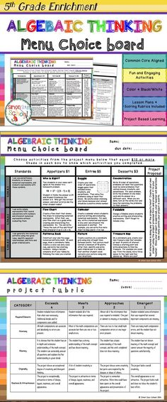 Algebraic Thinking Enrichment Choice Board for 5th Grade - This board contains three leveled activities for each standard: appetizer, entrée, and dessert.   NO TWO ACTIVITIES ARE ALIKE!
