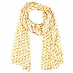 Giraffe Print Scarf | Our limited edition collection of whimsical animal patterned scarves can brighten up any look. This 100% polyester scarf is printed with giraffes in zesty yellow and white color. It has a soft and lightweight style which is easy to wrap around your neck or tie around your handbag. #Vintage #Fashion #Scarf www.vintagemaya.com