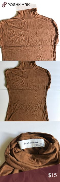 Zara collection brown sleeveless turtleneck size L Pre-owned top in great condition. Let me know if you have any questions. Zara Tops