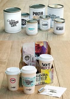 fantastic coffee cup carrier! so beautifully done! Cielito Querido Café in Mexico #type #packaging