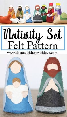 Create a meaningful nativity set for your family that is colorful and kid-friendly.  Using the PDF pattern and instructions, you will be able to make 11 felt characters.  A beginner could easily accomplish this project.  Instructions are clear and templates are already to-scale.