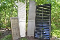 Stain Distressed, Antique Distressed, and Worn Distressed. Distressed Shutters, Outdoor Structures, Antiques, Antiquities, Antique, Old Stuff