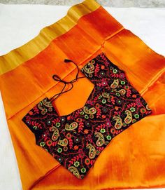 Mustard yellow raw silk matched with a designer blouse - Buy this look!!
