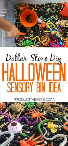 "This ""Monster Soup"" Halloween Sensory Bin idea is the perfect activity for easy Halloween Party fun; to use in a classroom sensory table; or for exploring at home. This activity will entertain all ages - from toddlers to preschoolers to school age children too. The best part is that it is primarily made from Dollar Store items! #halloween #sensoryactivities #teaching #preschool #toddlers #teachers #sensorytable #activitiesforkids #dollarstore #halloweenfun"