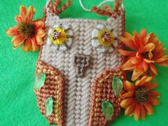 Needlepoint  Beaded Owl  Gift Card Business by BunniesMadeOfBread