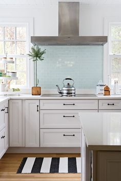 ice blue glass backsplash