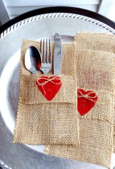 Set of 4 FREE shipping Valentine silverware pockets by mydecor8, $12.00