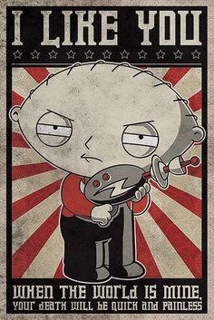Póster Stewie, propaganda. Family Guy (Padre de Familia) Póster perteneciente a la serie de Tv Padre de Familia, con la imagen de Stewie al estilo propaganda.