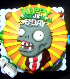 Plants vs Zombies cake - my 3 year old daughter just requested this… Zombie Birthday Parties, Zombie Party, Zombie Food, Zombie Life, Plants Vs Zombies, Edible Arrangements, Halloween Cakes, Cute Cakes, Cupcake Cookies