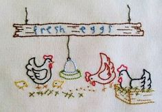 Fowl Play quilt block to embroider Verandah Views Willowberry Designs...see the other great free designs