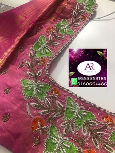 Butterfly Pattern, Butterfly Design, Mirror Work Blouse Design, Maggam Works, Designer Blouse Patterns, Fashion Blouses, Blouse Neck Designs, Embroidered Blouse, Indian Designer Wear