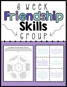 A 6 session, no-prep, social skills group plan focused on friendships skills including making friends, maintaining friendships and conflict resolution. Each session includes an objective, discussion points and an activity. Also includes a 6 item survey to measure growth and two bonus activities. Table of Contents: p.3: General Group Hints p.4: Survey for Data Collection p.5-6: Session 1- Finding Things In Common p.7-8: Session 2- Starting Conversation p.9-10: Session 3- Pieces Of A…