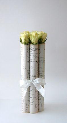 vintage ledger paper wrapped roses
