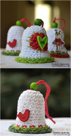 easy crochet DIY Crochet Christmas Bell - Crochet is such a popular craft, particularly for the holidays. I remember when I was younger going to craft fairs around Christmas and there would always be hand crocheted items there in so many styl. Crochet Christmas Decorations, Crochet Christmas Ornaments, Crochet Decoration, Christmas Crochet Patterns, Holiday Crochet, Crochet Snowflakes, Christmas Knitting, Christmas Bells, Tree Decorations