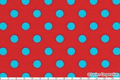 Japanese, Lecien, Color Basic, Aqua Polka Dots on Red 4524 RL - 1/2 Yard. $4.75, via Etsy.