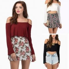 a89468e2bc7 Womens Slim Boat Neck Crop Tops T-shirt Long Sleeve Spaghetti Strap Blouse  Shirt. Dress Link · Shirt Sale · Wholesale Clothing ...