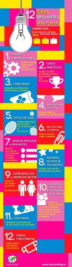 12 ideas brillantes para tu blog. Infografía en español. #CommunityManager