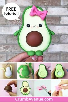 Cute avocado cake topper free tutorial fondant gum paste figurine cake decorating kawaii clay idea inspiration kids fun diy step by step instructions Fimo Kawaii, Polymer Clay Kawaii, Polymer Clay Charms, Kawaii Crafts, Kawaii Diy, Polymer Clay Figures, Polymer Clay Creations, Cute Avocado, Avocado Cake