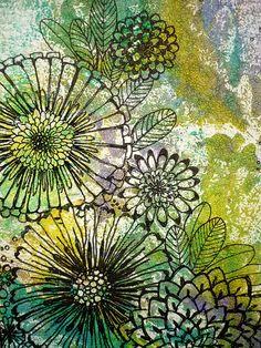 Original Monotype and Ink Drawing Bloom by DancingGirlArt Natural Form Art, A Level Art, Watercolor And Ink, Background Watercolour, Watercolor Artists, Art Plastique, Art Sketchbook, Art Techniques, Doodle Art