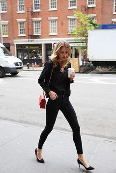 anine bing denim jeans heels blouse chanel bag new york bleecker street