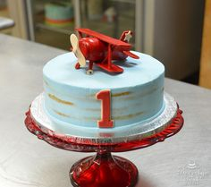 Vintage Airplane 1st Birthday Cake by Beverly's Best Bakery
