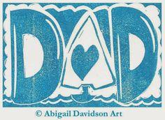 © Abigail Davidson Art -- Handmade Dad Print Card