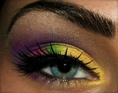 purple and yellow eye shadow