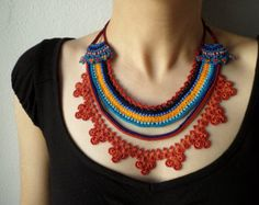 Beaded lace necklace crocheted with by irregularexpressions