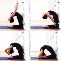 preparation for kapotasana with ropes and wall and final pose #kapotasana #backbend #iyengaryoga #yogawithprops #yogaprops #yogaeveryday #yogalove #hathayoga #iyengar #yogalove #openyourheart #openyourchest