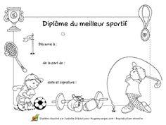 Diplôme du meilleur Sportif à décerner lors des réussites en gymnastique, à imprimer