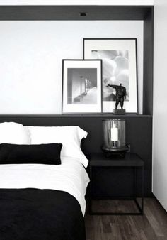 Male Bedroom Decor Modern Black And White Design                                                                                                                                                                                 More