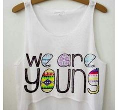 We Are Young crop top from FRESH TOPS Super cute summer tee to wear on top of a bikini