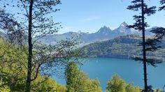 Unterwegs von Rütli nach Seelisberg mit Blick auf den Vierwaldstädtersee und die Mythen