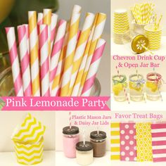 Plastic Mason Jars, Paper Straws, Chalkboard Signs, Pink Lemonade Party,Favor Bags, Candy Nut Cup, Wedding Bar, Candy Buffet, Lemonade Stand on Etsy, $25.00
