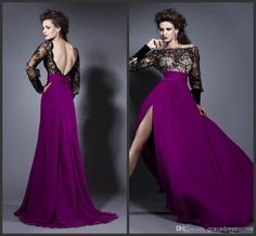 Wholesale Evening Dresses - Buy 2014 Elegant Purple Black Evening Dresses A-Line Bateau Sweep Train Prom Gowns Lace Dress Chiffon Gown Long Sleeves Side Slit, $109.0 | DHgate