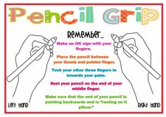learn to write with my left hand The step by step instructions on this poster, along with the image will assist your students to correctly hold their pencil. Poor pencil grip can result in sloppy writing and in the long term may reduce speed and efficenc Improve Your Handwriting, Handwriting Practice, Handwriting Activities, Dyslexia Activities, Teaching Handwriting, Motor Activities, Kindergarten Writing, Teaching Writing, Literacy