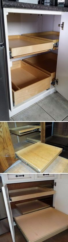 Blind Corner Cabinet Solution-makes it much easier to store items in a blind corner.