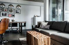 foorni.pl   Apartament industrialny, drewniany stolik