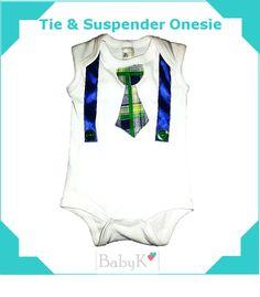 Tie & Suspender Onesie by BabyK. Cute Little Baby, Little Babies, Boy Outfits, Custom Made, Wetsuit, Onesies, One Piece, Tie, Boys