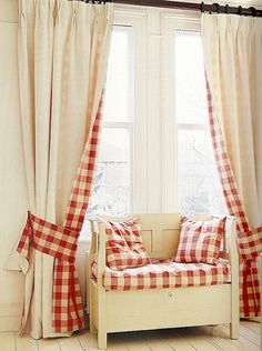 Window seat matches the cream and red check curtains --- Design Caller ~ Selected Spaces: 10 Unusual Ideas For Windows Check Curtains, Cute Curtains, Drapes Curtains, Drapery, Peacock Curtains, Gingham Curtains, Layered Curtains, Country Curtains, Country Bench