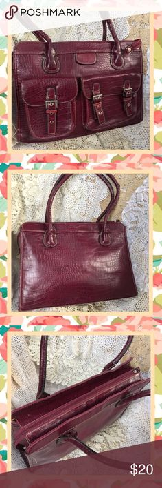 Faux Alligator Organizer Laptop Briefcase  Bag For the stylish on the go professional woman. Stunning briefcase in burgundy will carry all your business on the go! Has section padded for laptop pens papers & more. One handle has gotten bent and cracked (see photo) can be repaired. INVENTORY SALE! Item is priced to sell & no reasonable offer refused! Take a good look at all photos, item details & ask questions BEFORE ordering or making offer. Happy Shopping!☀️ Got2b4me Bags Laptop Bags