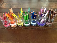 Today we colour coded jars for our pencils. This spreads out the colour choices, making it easier for children to find the perfect shade, and it is also a great sorting activity at pack up time! - Gowrie Victoria